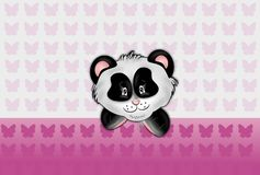 Panda head on pink butteflies background Stock Photo