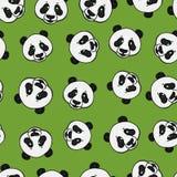 Panda head seamless pattern. Vector hand drawn illustration on green. Surface design vector illustration