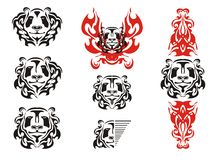 Panda head tattoos symbols Stock Photo