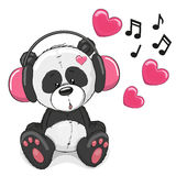 Panda with headphones Royalty Free Stock Image