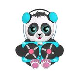 Panda with headphones listening to vintage tape recorder. cartoon character. royalty free illustration