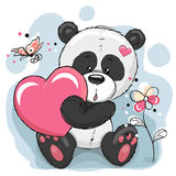 Panda with heart. Cute Panda with heart, flowers and butterflies Royalty Free Stock Image