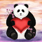 Panda with a heart-shaped pillow Stock Photos