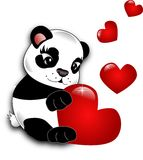 Panda with hearts Stock Photo