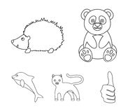 Panda, hedgehog, dolphin, panther.Animal set collection icons in outline style vector symbol stock illustration web. Panda, hedgehog, dolphin, panther.Animal royalty free illustration