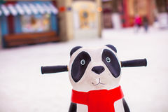 Panda for helping little skaters to teach skate on Royalty Free Stock Photography