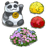 Panda with hieroglyph, feng shui and flower beds Royalty Free Stock Photo