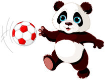 Panda hits the ball. Illustration of panda cub playing soccer Stock Photo