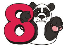Panda hold a red number eight Stock Images