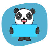 Panda Holding Blank Sheet Paper Fotos de Stock Royalty Free