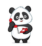 Panda holding a phone. Clipart picture of a panda cartoon character holding a phone Stock Image