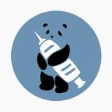 Panda Holding Syringe Icon Vector Stock Images