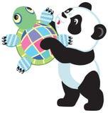 Panda holding turtle toy Royalty Free Stock Images