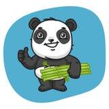 Panda Holds Bamboo y el mostrar pulgares para arriba Fotografía de archivo