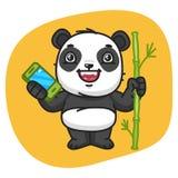Panda Holds Bamboo y teléfono Imagen de archivo libre de regalías