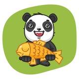 Panda Holds Big Fish Immagine Stock Libera da Diritti