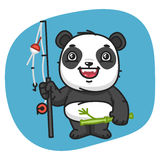Panda Holds Fishing Rod Foto de archivo