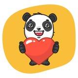 Panda Holds Heart Symbol Fotografía de archivo libre de regalías