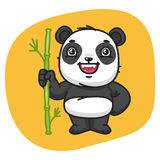 Panda Holds Stalk Bamboo illustration stock
