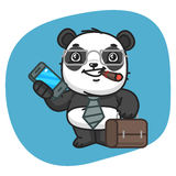 Panda Holds Suitcase och telefon stock illustrationer