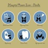 Panda Hospital Rooms Icon Collection Imágenes de archivo libres de regalías