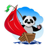 Panda i fartyget vektor illustrationer