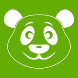 Panda icon green. Panda icon white isolated on green background. Vector illustration Royalty Free Stock Photography