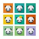 Panda icons set in flat design Stock Image
