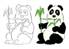 Panda illustration with a bamboo branch. The image for the child Royalty Free Stock Photography