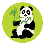 Panda illustration with a bamboo branch. The image for the child Stock Photography