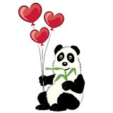 Panda illustration with a branch of a bamboo and balloons. Stock Photos