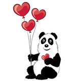 Panda illustration with a branch of a bamboo and balloons. Royalty Free Stock Images
