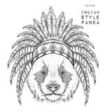 Panda in the Indian roach. Indian feather headdress of eagle. Hand draw vector illustration Royalty Free Stock Images