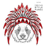 Panda in the Indian roach. Indian feather headdress of eagle. Hand draw vector illustration Stock Photo