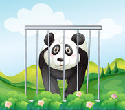 A panda inside the cage. Illustration of a panda inside the cage Royalty Free Stock Photos