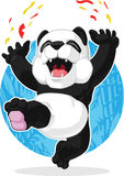 Panda Jumping in Excitement Stock Photos