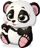 The panda. Panda keeps foot sticks for sushi on a white background Stock Photos