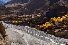 Panda Khola River, pueblo de Lupra Fotos de archivo libres de regalías