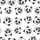 Panda kierowniczy bezszwowy wzór Wektorowa ręka rysująca ilustracja odizolowywająca na bielu zdjęcie stock