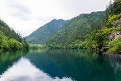 Panda lake, beautiful multicolored scenic point in Jiuzhaigou. stock photography