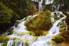 Panda lake waterfalls in Jiuzhai valley. Water flow down make up a multiple layers waterfalls in Jiuzhai valley, Sichuan of China. Slow shutter for waterfalls Stock Photos