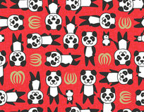 Panda leaf seamless pattern. Seamless vector pattern - pandas and leaves with red, slightly textured background. Chinese vibe Royalty Free Illustration