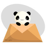 Panda and letter stock illustration