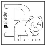 Panda, letter P coloring page Royalty Free Stock Images