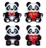Panda liebt mit Herzen pillow und Aufschriftliebeserklärung Stockfotografie