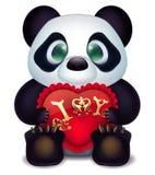 Panda liebt mit Herzen pillow und Aufschriftliebeserklärung Lizenzfreie Stockbilder