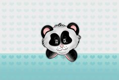 Panda with light blue hearts background Stock Images