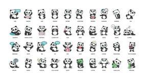 Panda linda, colección de las etiquetas engomadas, en diversas actitudes, diversos humores Foto de archivo libre de regalías