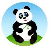 Panda linda del niño que come el bambú Imagenes de archivo