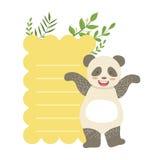 Panda With Lined Paper And-Installaties Vectorsticker, Malplaatjest van het het Berichtelement van de Valentijnskaartendag de Ont Royalty-vrije Stock Foto